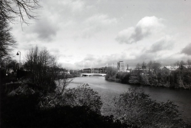 River Taff Nikon FM 28mm Ilford FP4 125