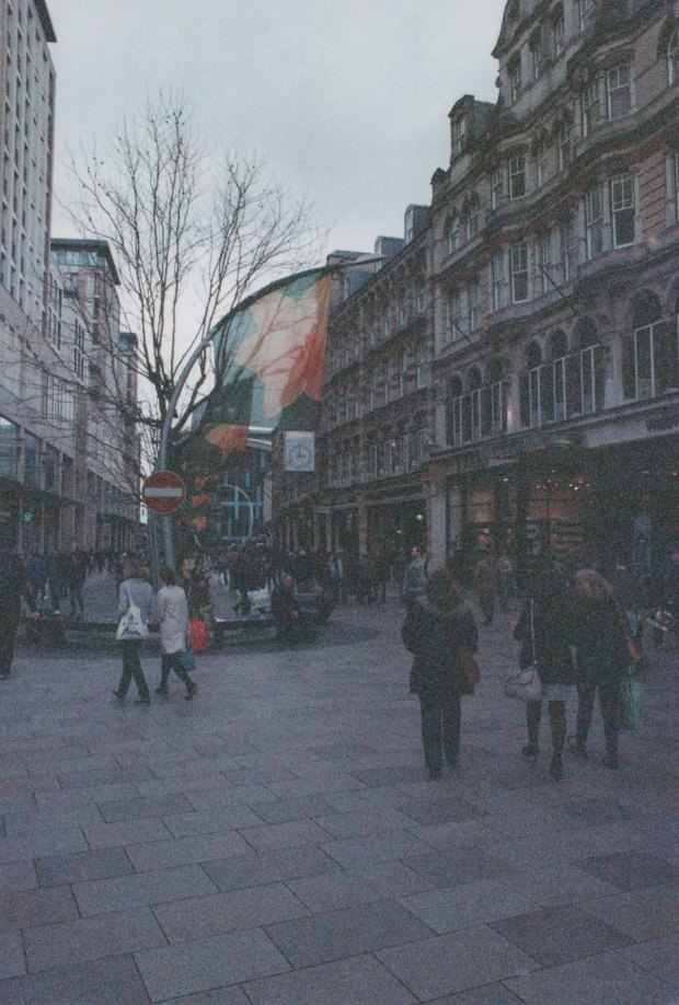 Cardiff Street 28mm Fujicolor Super HG 1600 f16 125th sec