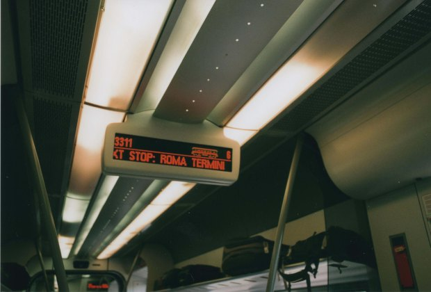 Train Sign 28mm Agfa Vista Plus 200 f 4 60th sec